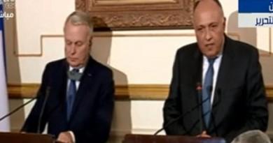 الوزير الفرنسي، في مؤتمر صحافي مع نظيره المصري
