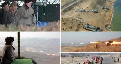 الزعيم الكوري الشمالي يتفقد تدريبات الانزال ويوجه أوامر بدفن الأعداء في البحر