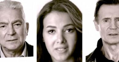 دنيا سمير غانم ومحمود قابيل مع ليام نيسون في حملة لدعم اللاجئين السوريين