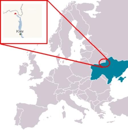الشكل (1): موقع محطة تشيرنوبل