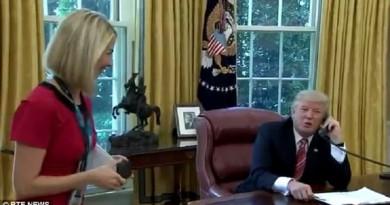 بالفيديو: صحفية إيرلندية بفستان أحمر تفتن ترمب