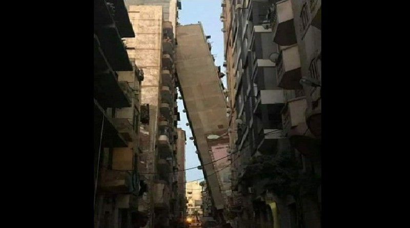 كارثة فى الاسكندرية ... برج «الأزاريطة» المائل