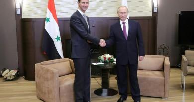 """بوتين لـ""""الأسد"""": روسيا ستستمر في دعم جهود سوريا في الدفاع عن سيادتها"""