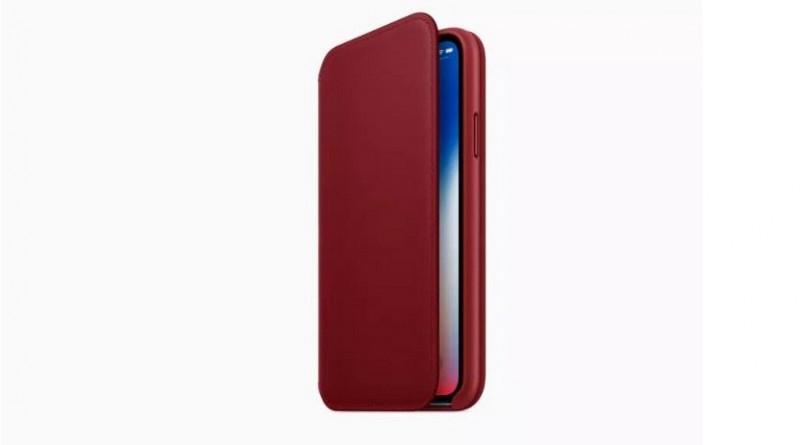 حافظة باللون الأحمر من الجلد لهاتف iPhone Xتطلقها آبل