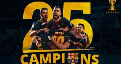 بالفيديو ... برشلونة يتوج بطلاً للدوري الإسباني للمرة الـ25