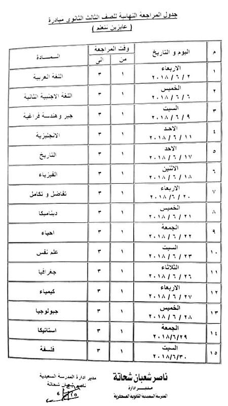 جدول المراجعات النهائية