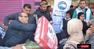 مستقبل وطن بالسويس يوزع بطاطين بقرية عامر بالجناين