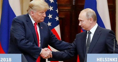 Mandatory Credit: Photo by ANATOLY MALTSEV/EPA-EFE/REX/Shutterstock (9762785o) Donald J. Trump and Vladimir Putin Russia US Summit in Helsinki, Finland - 16 Jul 2018 US President Donald J. Trump (L) and Russian President Vladimir Putin (R) shake hands during a joint press conference in the Hall of State at Presidential Palace following their summit talks, in Helsinki, Finland, 16 July 2018.