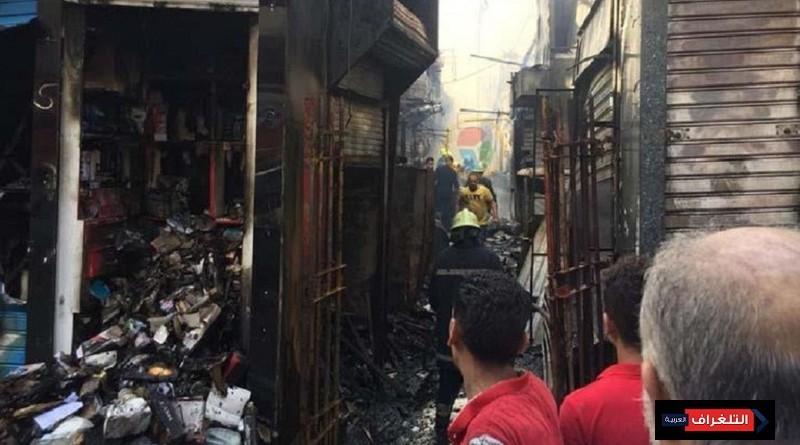 حريق هائل يلتهم محال تجارية ويسبب خسائر فادحة