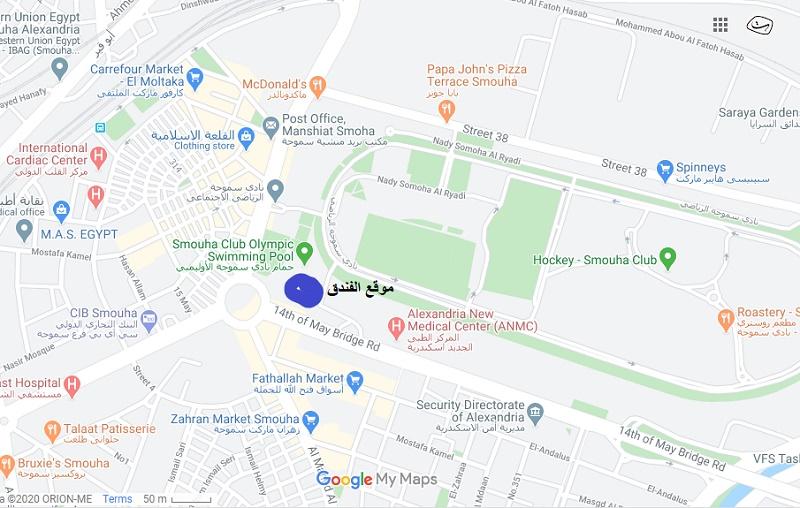 موقع الفندق المحدد باللون الازرق