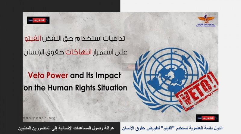 """حق """" الفيتو"""" وتأثيره على أوضاع حقوق الإنسان.. اصدار جديد لمؤسسة ماعت"""